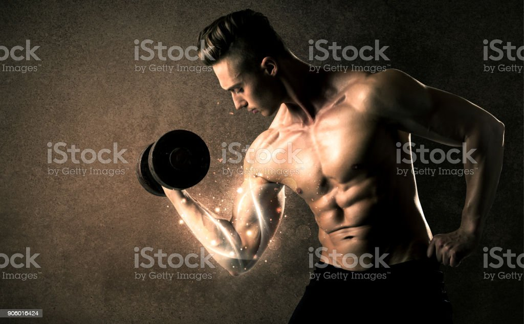 Bodybuilder lifting weight with energetic white lines concept stock photo