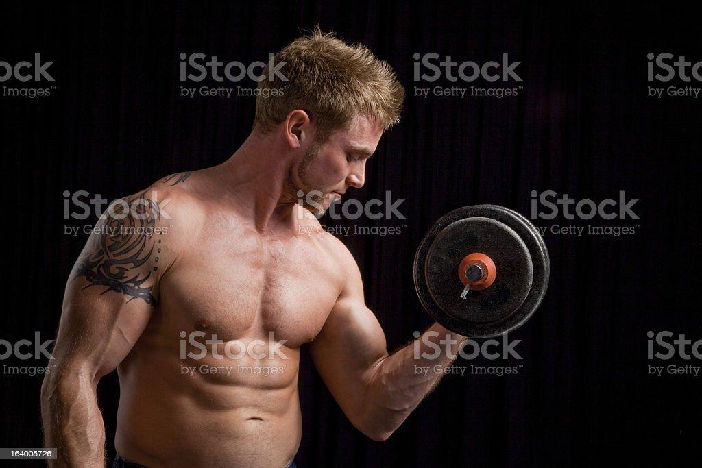 Bodybuilder on Black royalty-free stock photo