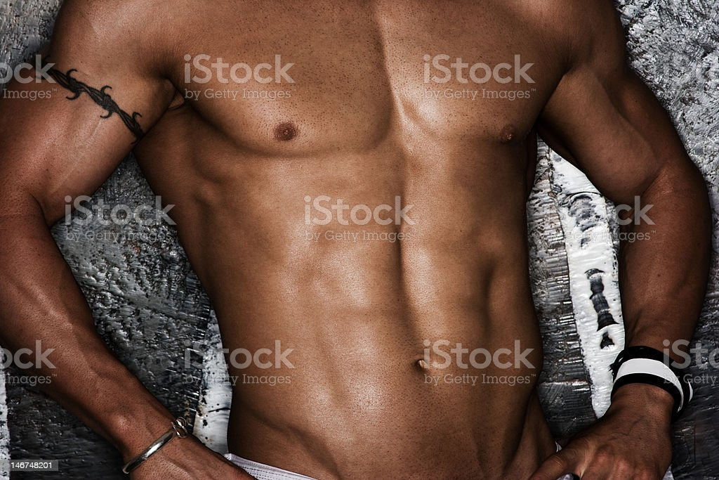 Bodybuilder ripped stomach royalty-free stock photo