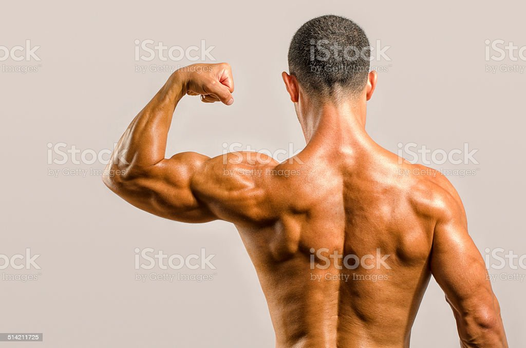 Bodybuilder Showing His Back And Biceps Muscles Stock Photo More