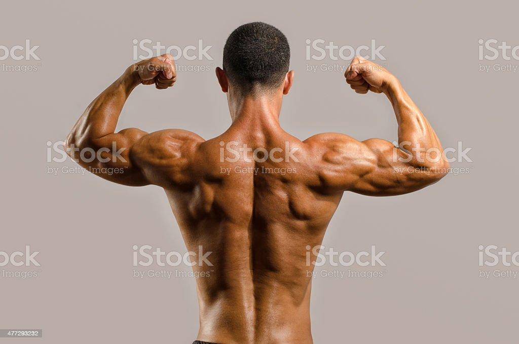 Singer Mit Dem Rücken Schultern Des Trizeps Und Des Bizeps Muskeln ...