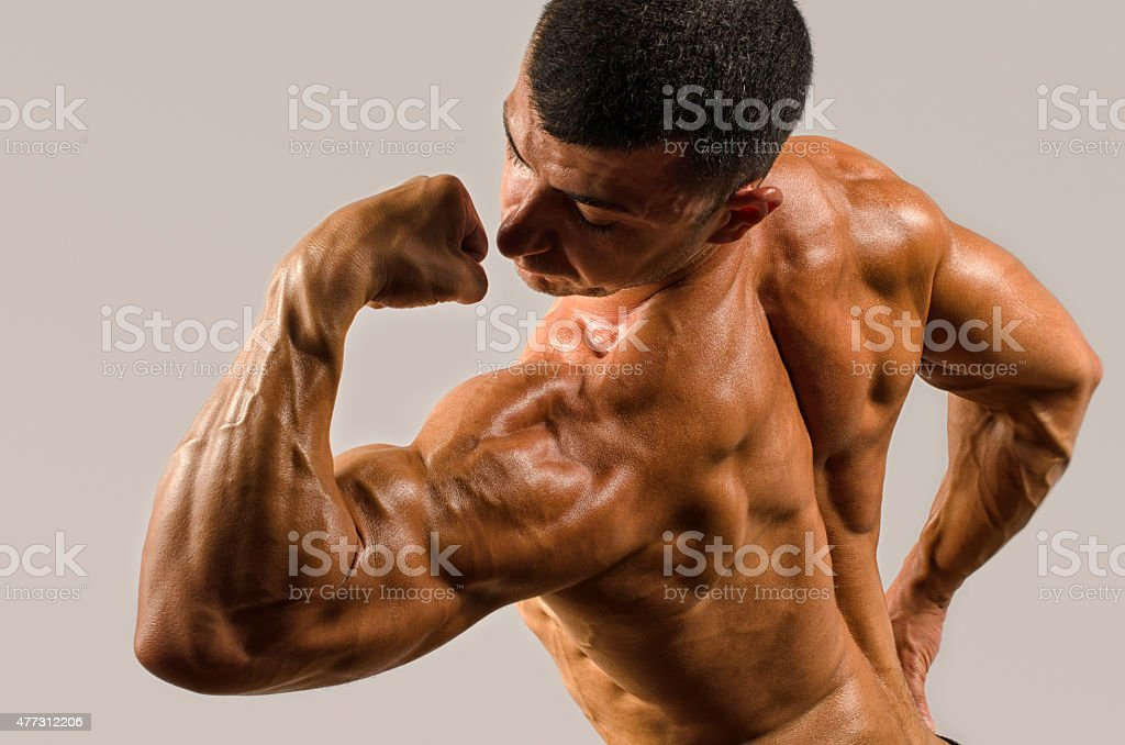Bodybuilder Showing His Backshoulders Triceps And Biceps Muscles