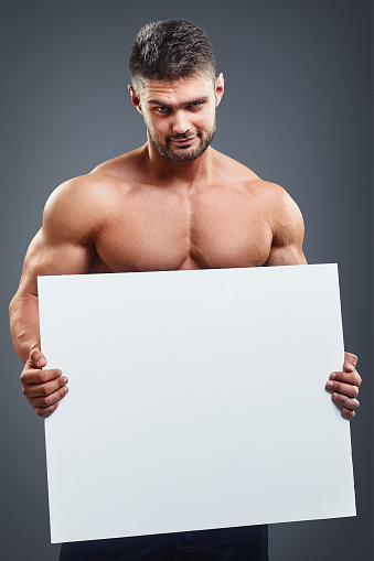 Naked Muscular Man Covering Copy Space Stock Photo