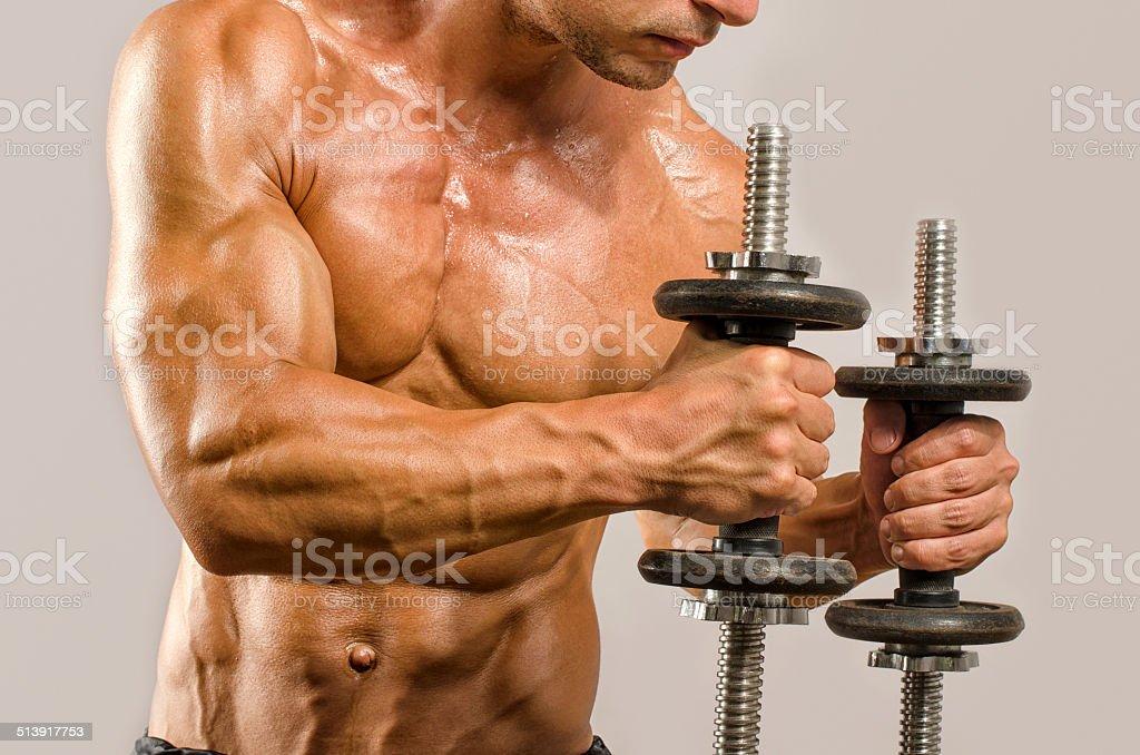Bodybuilder With Perfect Absbiceps Tricepschest Training