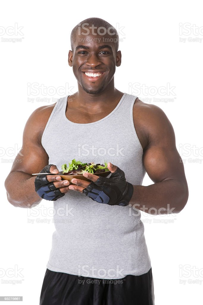 Bodybuilder with Salad royalty-free stock photo