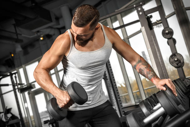 Bodybuilding. Bearded man exercising at gym with dumbbell looking at technique concentrated stock photo