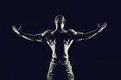 istock Bodybuilding fitness concept. Strong man. Fit and healthy muscular male body. 1030184676