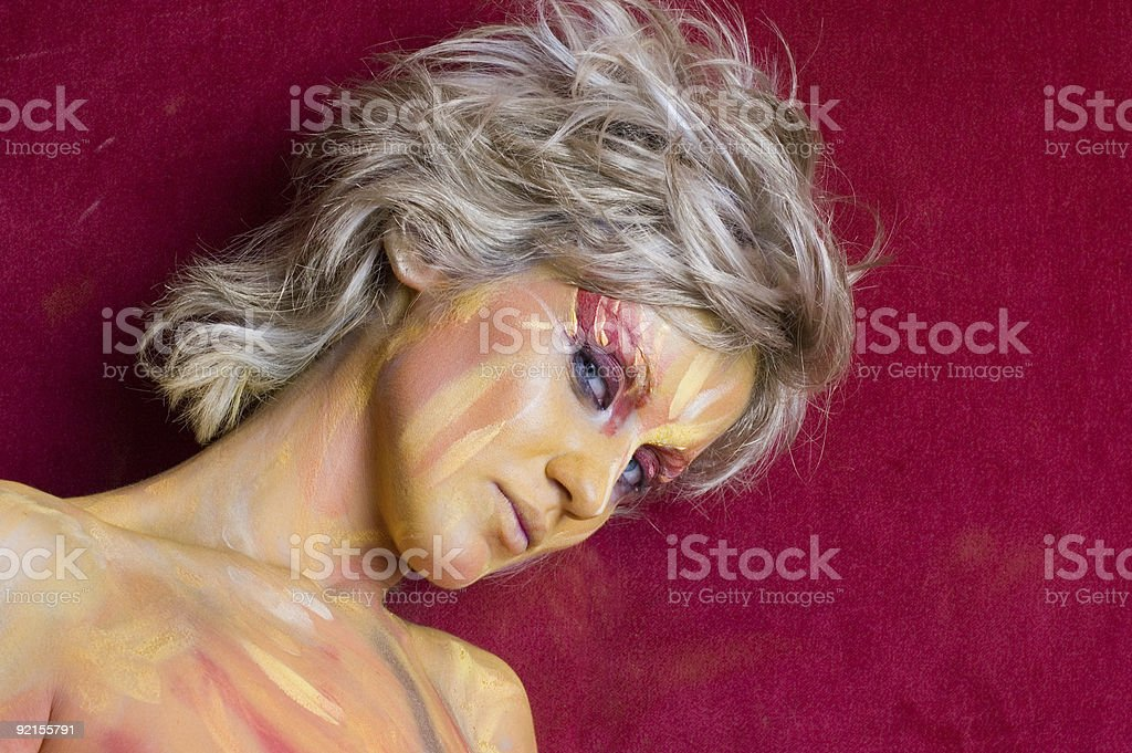 Bodypainted blond beauty royalty-free stock photo