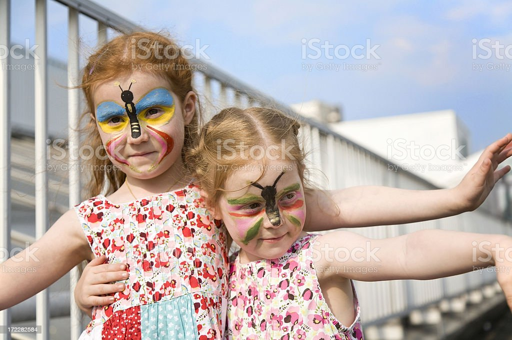 Bodypainted little girls royalty-free stock photo