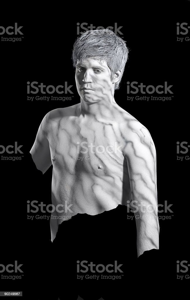 bodypainted marble man royalty-free stock photo