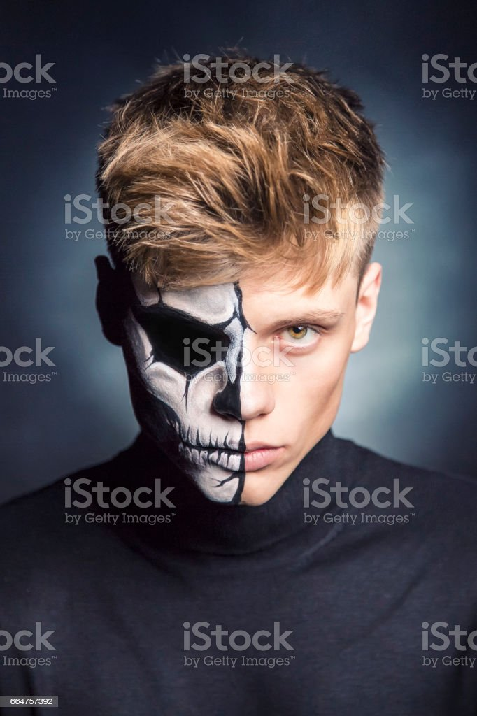 Bodypainting scary face stock photo