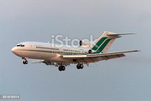 Luqa, Malta - July 11, 2006: Vintage Boeing 727 on finals for runway 32.