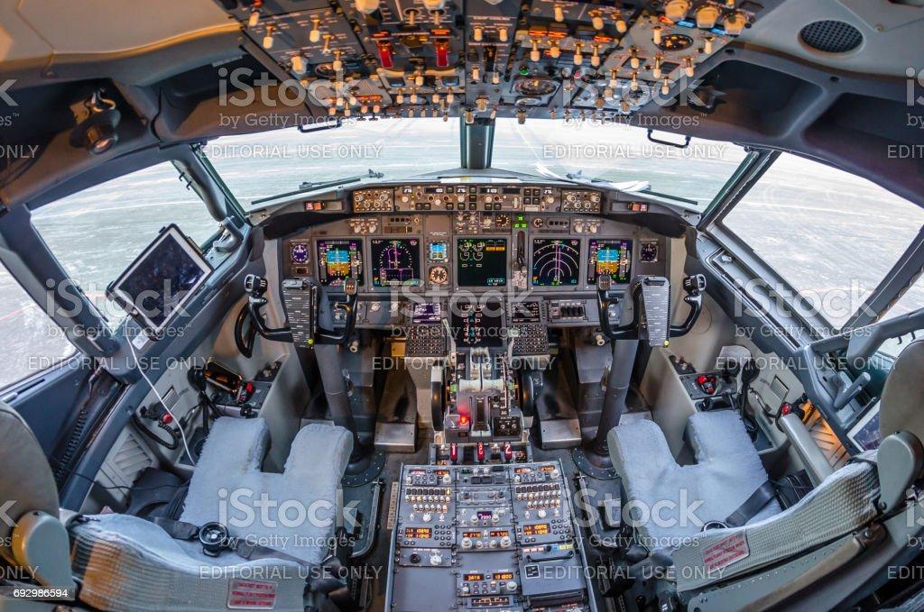Boeing 737, aeropuerto de Pulkovo, San Petersburgo de Rusia 11 noviembre 2016 - foto de stock