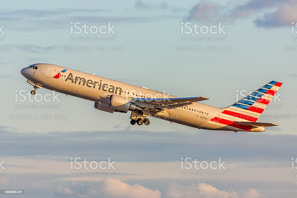Boeing 737 American Airlines takes off from JFK International Airport stock photo