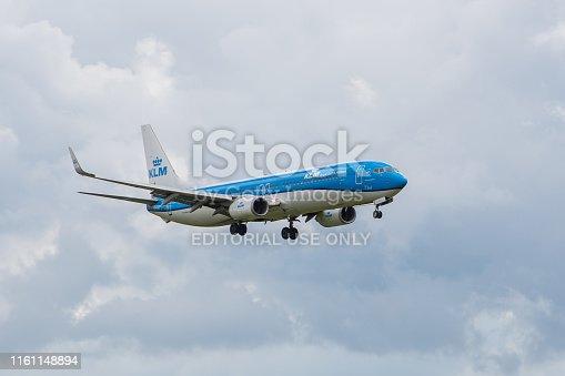 KLM Royal Dutch Airlines Boeing 737-900NG, PH-BXT, landing approach runway 28R. Saint-Petersburg, Russia. 09 Jule 2019
