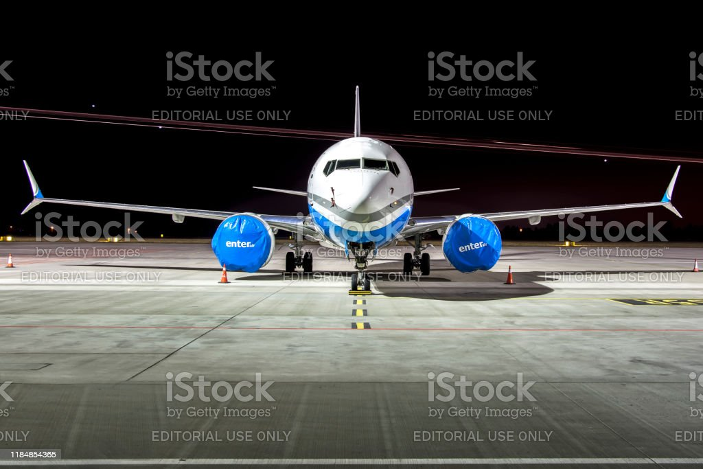 Boeing 737 MAX grounded Warsaw, Poland - 2019/01/21: Boeing 737 MAX Enter Air grounded Aerospace Industry Stock Photo
