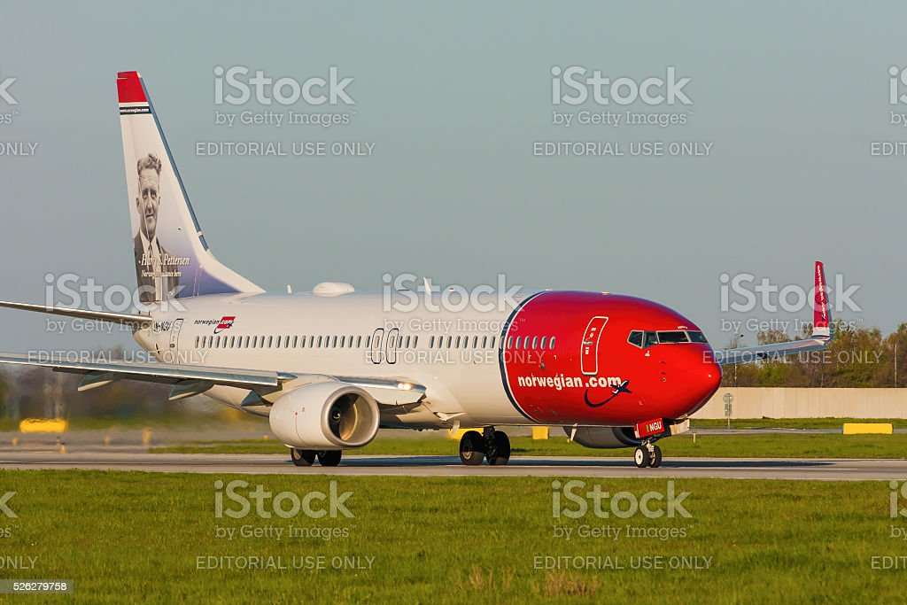 Boeing 737 of Norwegian stock photo