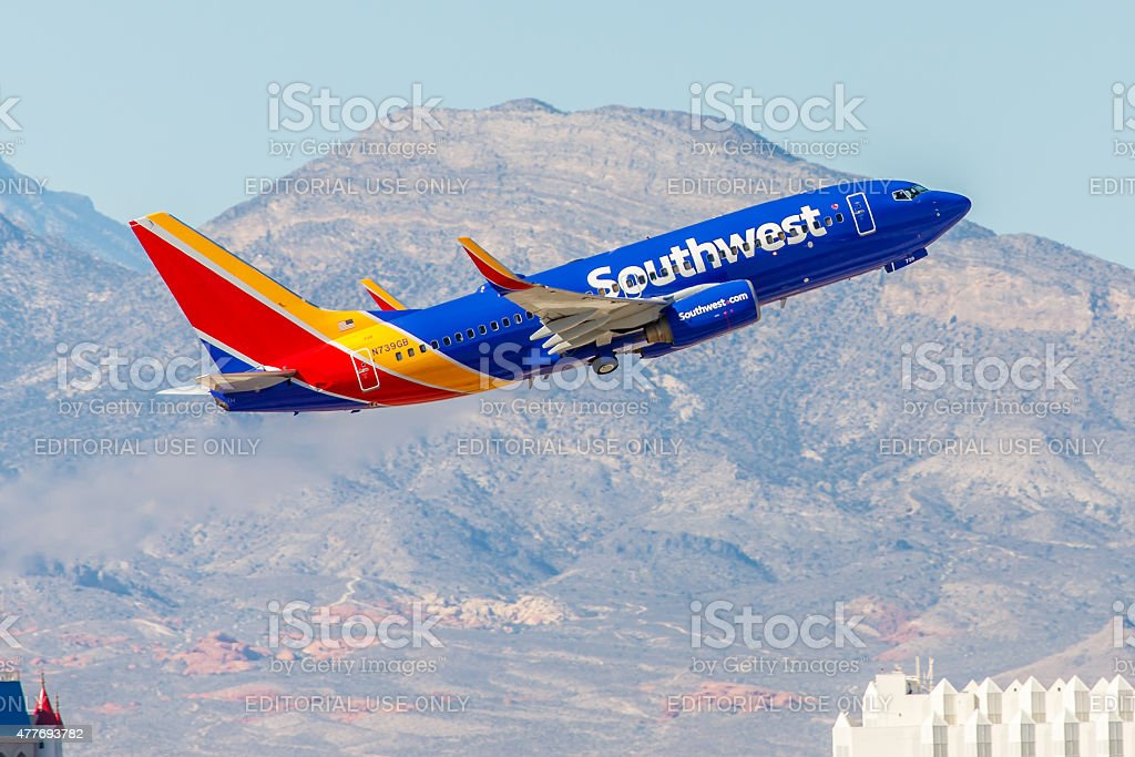 Boeing 737 Southwest Airlines takes off from McCarran International Airport stock photo