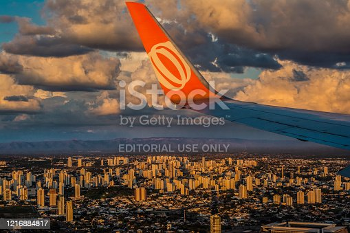 istock Boeing 737, wing view, winglets, Gol - Arena Pantanal Statium, Cuiabá, Mato Grosso, MT - Brazil 1216884817