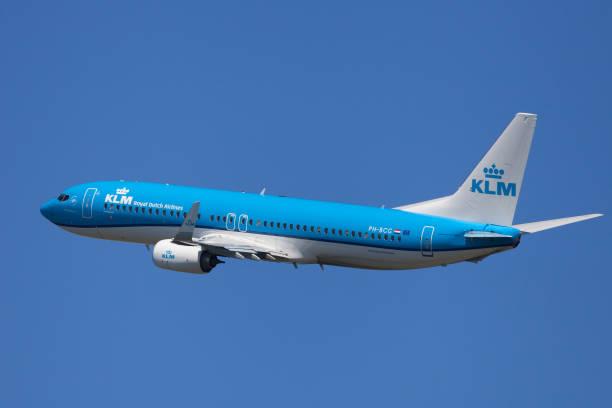 KLM Boeing 737-800 Banking stock photo
