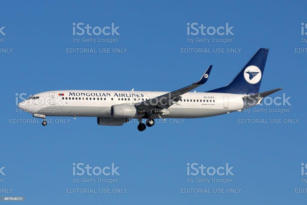 Boeing 737-800 of Mongolian Airlines EI-CXV landing at Sheremetyevo international airport. stock photo