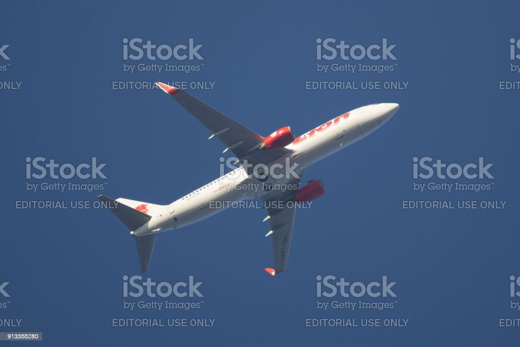 Boeing 737-800 of Thai lionair airline. stock photo