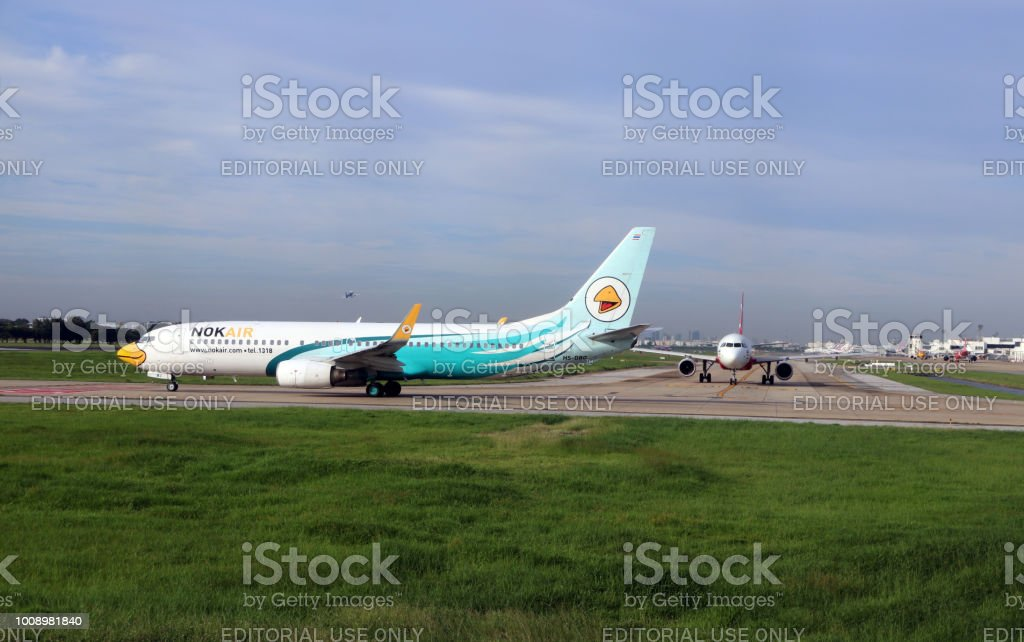 Boeing 737-8AS of Nokair parking on the runway to prepare for flight. stock photo