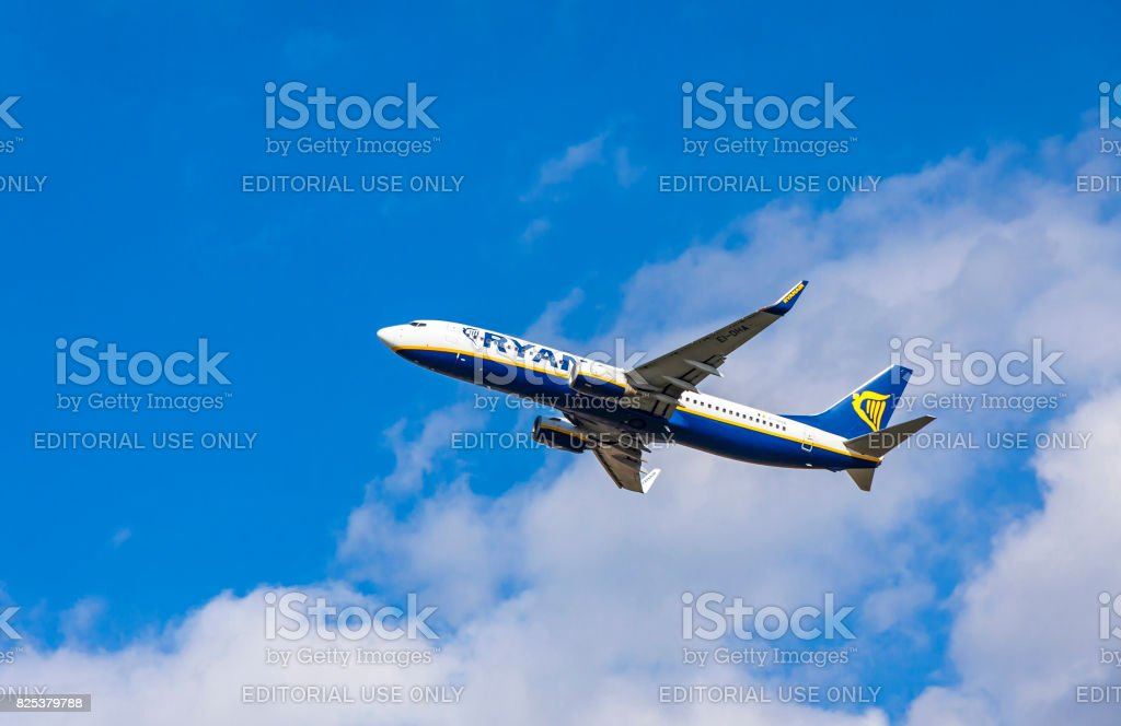 Boeing 737-8AS operated by Ryanair in the sky stock photo