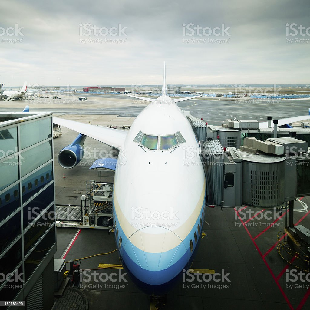 Boeing 747 Airplane Jumbo Jet at the Airport royalty-free stock photo