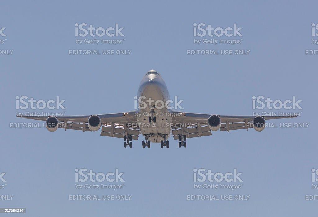 Boeing 747  airplane landing stock photo