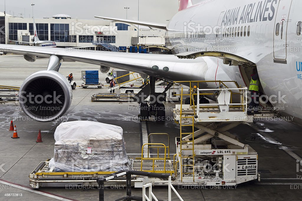 Boeing 747 being loaded on LAX Airport royalty-free stock photo