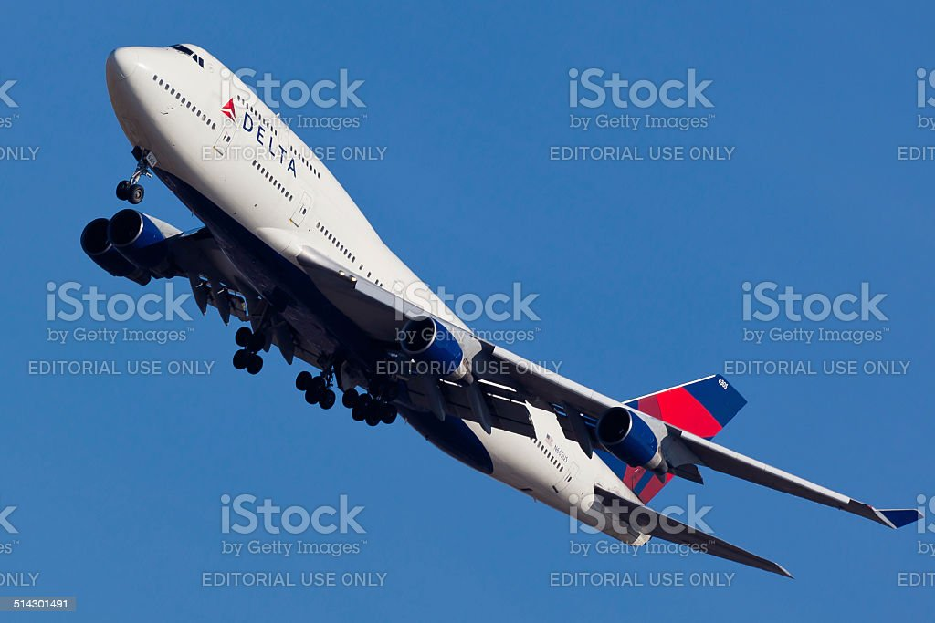 Boeing 747 Delta Air Lines takes off from JFK Airport stock photo