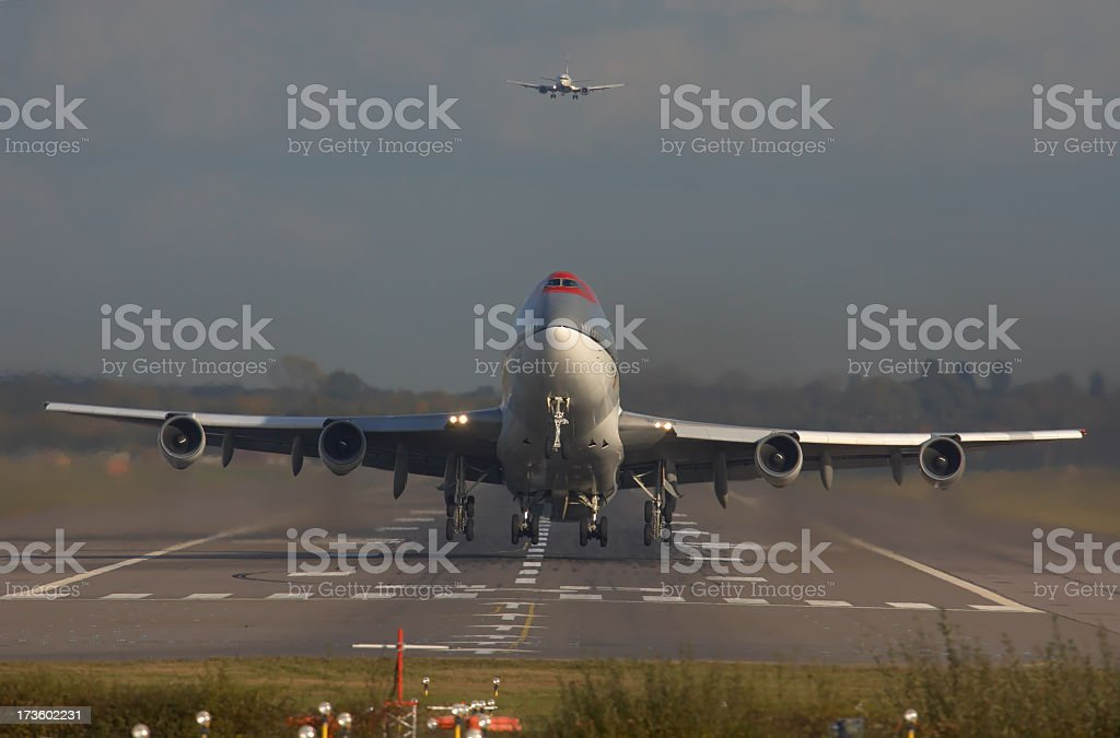 Boeing 747 Jumbo jet commercial airliner taking off. royalty-free stock photo