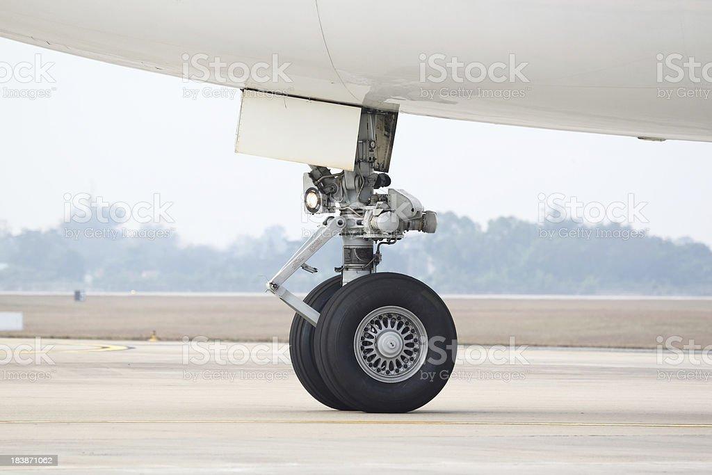 Boeing 747 nose landing gear stock photo
