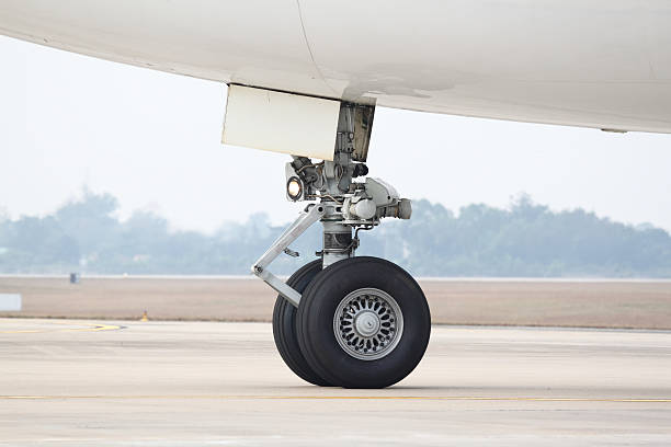 Boeing 747 nose landing gear stock photo