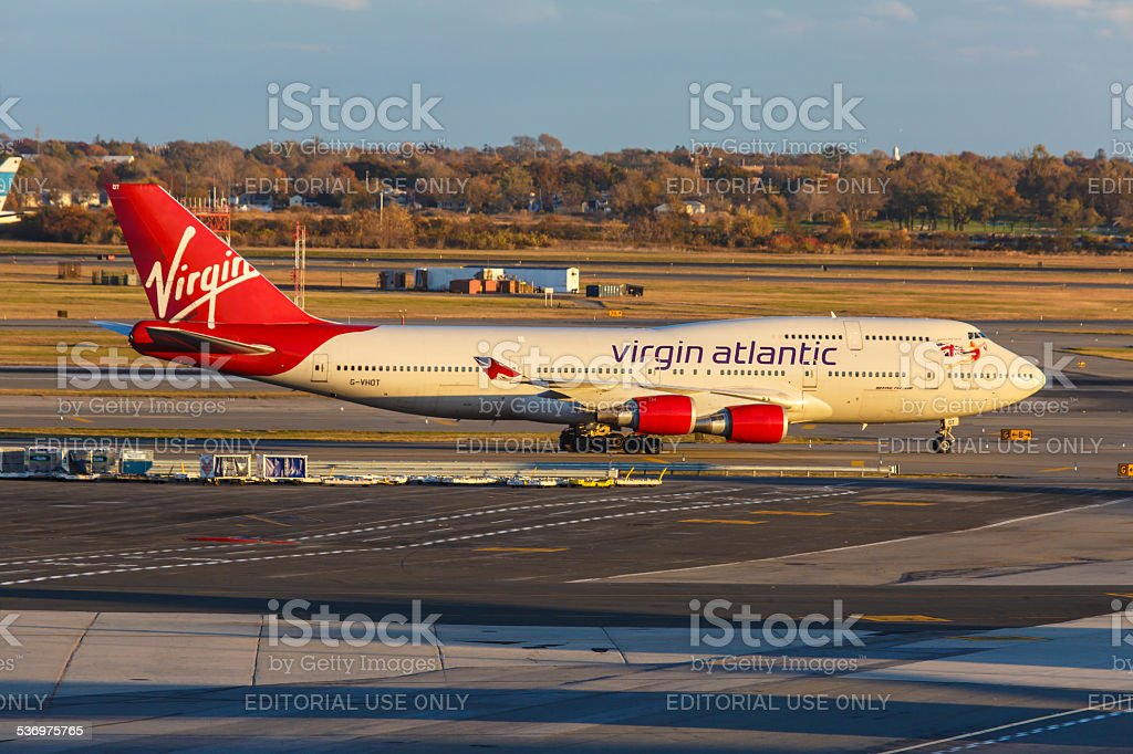 Boeing 747 Virgin Atlantic Airways lines up at JFK Airport stock photo