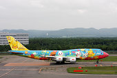 ANA Boeing 747-400 decorated with Pokemons