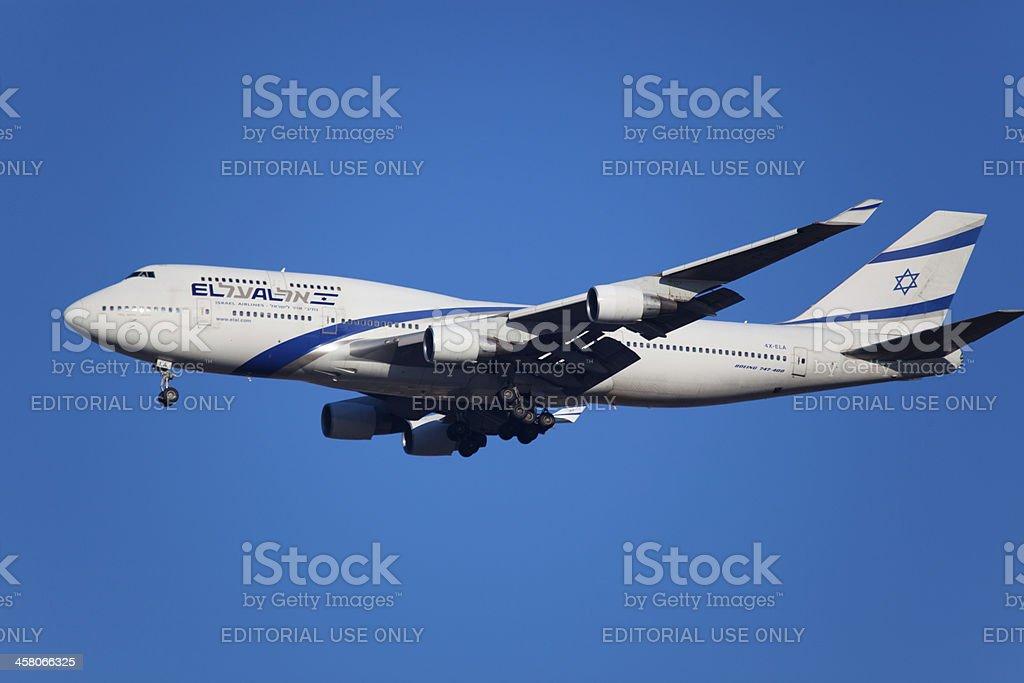 Boeing 747-400 El Al Israel Airlines stock photo