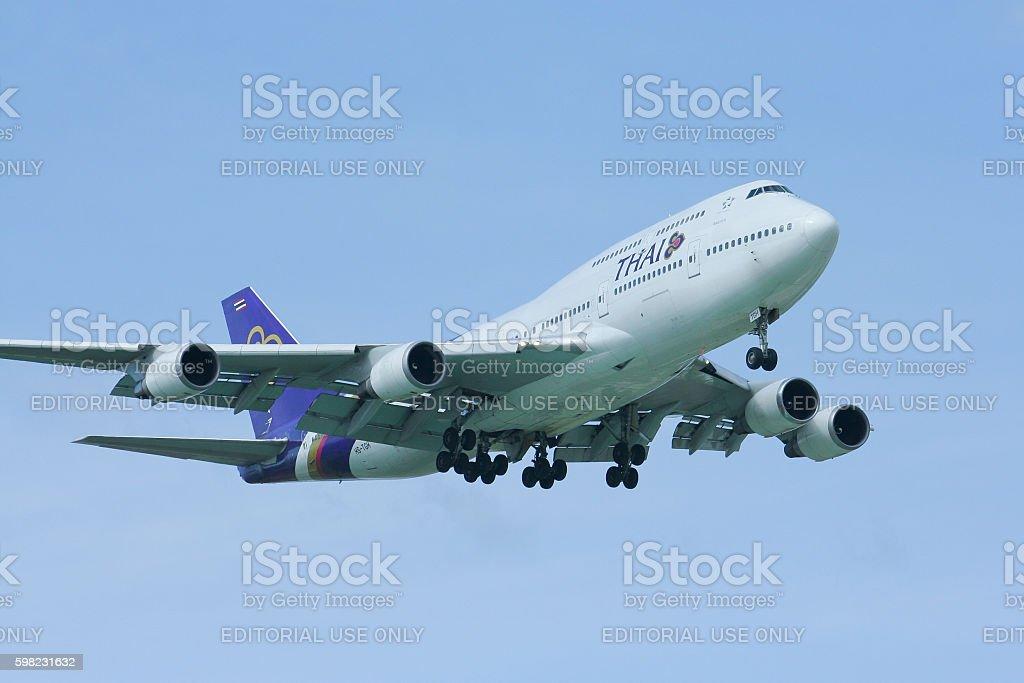 HS-TGH Boeing 747-400 Landing foto royalty-free