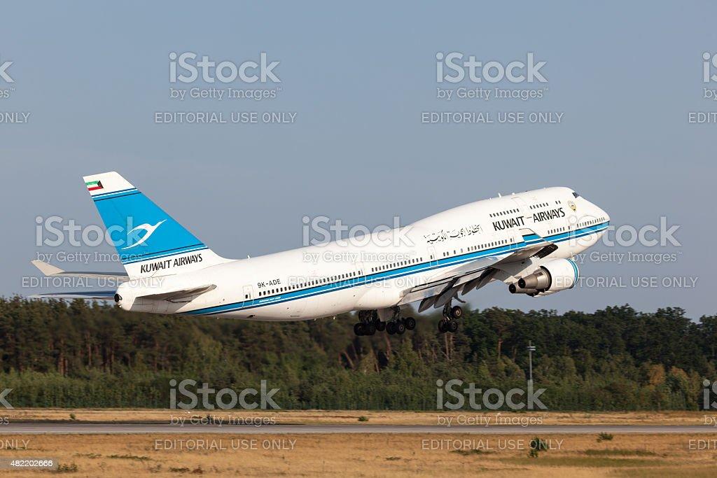 Boeing 747-400 of the Kuwait Airways stock photo