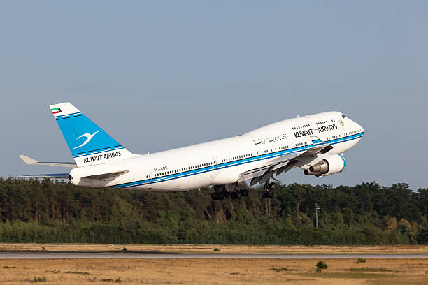 boeing 747-400 of the kuwait airways - respiratory tract stock photos and pictures