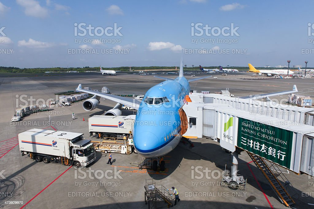 KLM Boeing 747-400 parked at Narita international airport stock photo