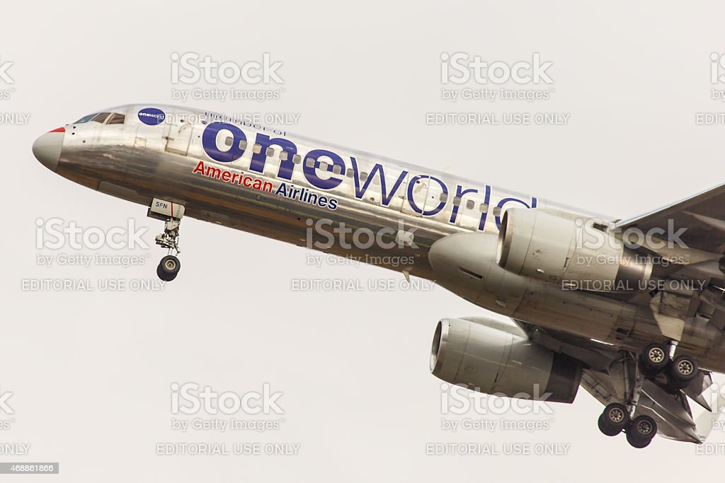 Boeing 757 American Airlines arrives at JFK International Airport stock photo