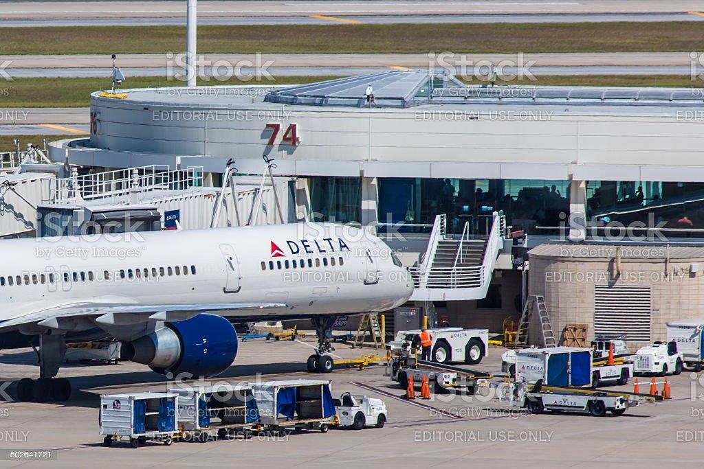 Boeing 757 Delta parked on Orlando International Airport stock photo