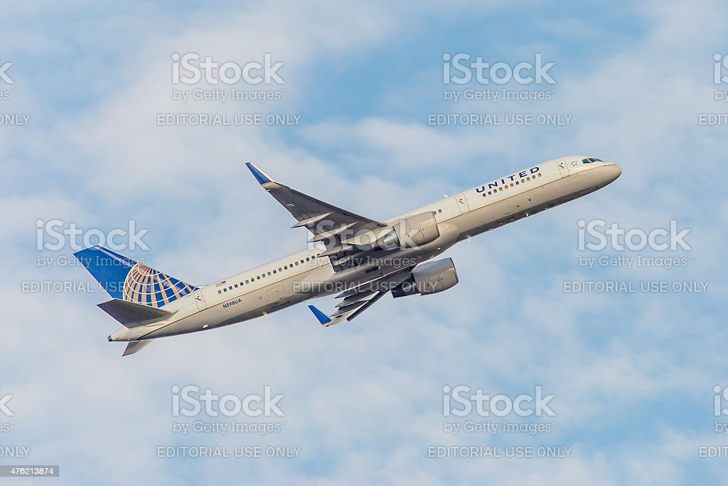 Boeing 757 United Airlines takes off from JFK International Airport stock photo