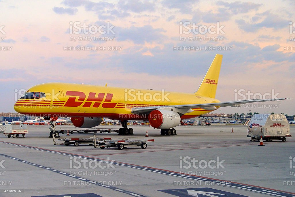 DHL Boeing 757-200 aircraft at Madrid airport royalty-free stock photo