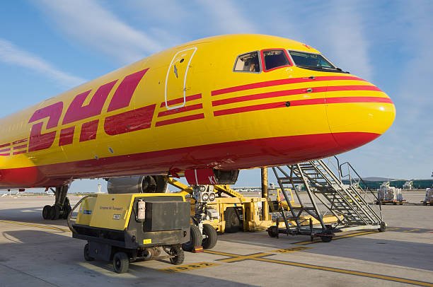 DHL Boeing 757-200SF aircraft parked at Barcelona Airport stock photo