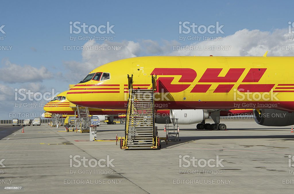 DHL Boeing 757-200SF cargo aircraft stock photo