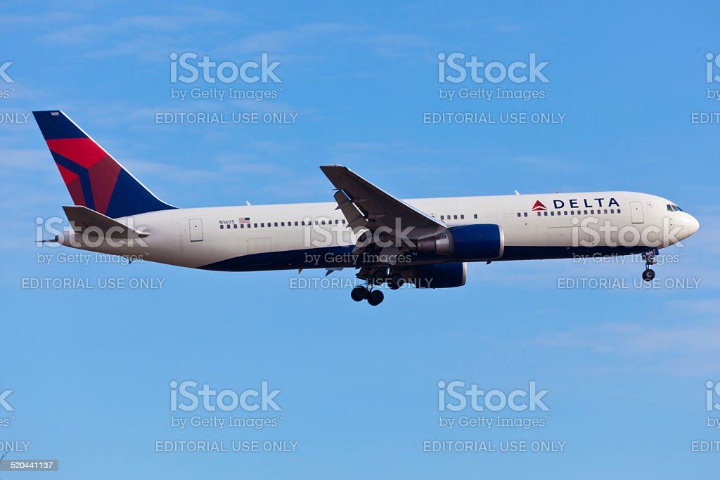 Boeing 767 Delta Air Lines takes off from JFK Airport stock photo