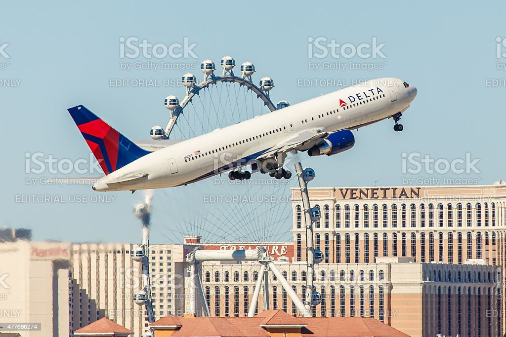 Boeing 767 Delta Airlines takes off from McCarran Airport stock photo
